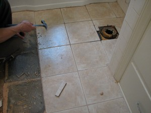 Tile floor, mid removal (layer one)