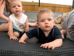 E and his buddy Malakai on the trampoline